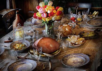 Food - Easter Dinner Print by Mike Savad