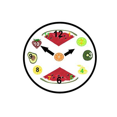 Kiwi Mixed Media - Food Clock by Kathleen Sartoris