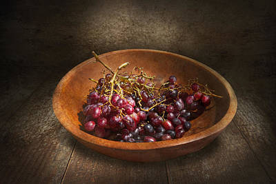 Food - Grapes - A Bowl Of Grapes  Print by Mike Savad