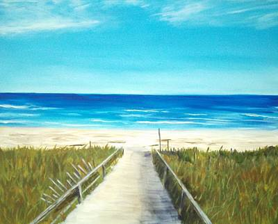 Ogunquit Beach Painting - Foot Bridge Ogunquit Maine by Lawrence Smith