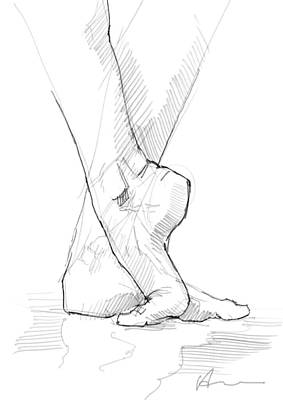 Feet Drawing - Foot Study by H James Hoff