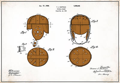 Football Helmet 1922 - White Print by Mark Rogan