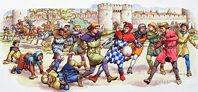 Tower Of London Painting - Football In The Middle Ages by Pat Nicolle