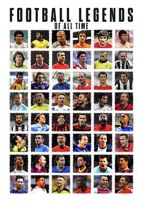 Pele Digital Art - Football Legends by Semih Yurdabak