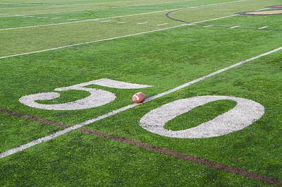 Football On The 50 Yard Line Print by Bill Cannon