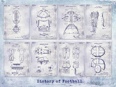 Football Patent History Blueprint Print by Jon Neidert