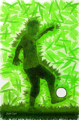 Outline Digital Art - Football Player - Da by Leonardo Digenio