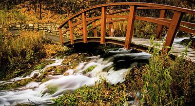 Of Autumn Photograph - Footbridge At Cascade Springs by TL Mair