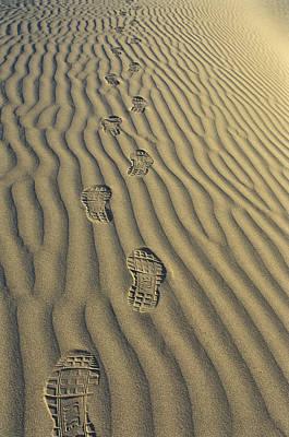 Footprints In The Sand Print by Joe  Palermo