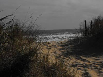 Footprints In Winter Sand Print by Kathryn Blackman