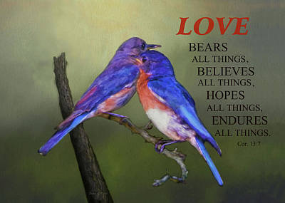 For Love Of Bluebirds And Scripture Print by Sandi OReilly