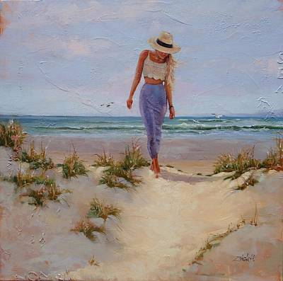 Long Sands Painting - For The Love Of The Sea by Laura Lee Zanghetti