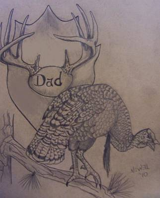 Wild Turkey Drawing - For You Dad by Chris Newell