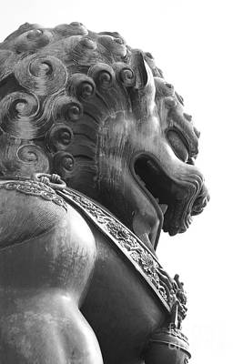Forbidden City Lion - Black And White Print by Carol Groenen