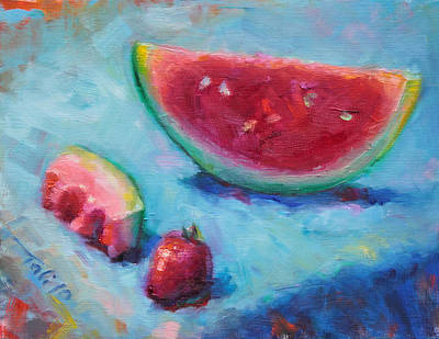 Strawberry Painting - Forbidden Fruit by Talya Johnson