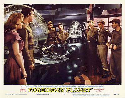 Planets Photograph - Forbidden Planet In Cinemascope Retro Classic Movie Poster Landscape by R Muirhead Art