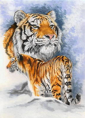Tigers Print featuring the painting Forceful by Barbara Keith