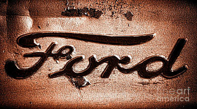 Ford Badge Grunge Print by Olivier Le Queinec