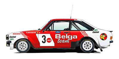 Ford Escort Rs Belga Team Illustration Print by Alain Jamar