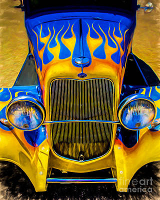 Purple Car Photograph - Ford Flames by Perry Webster