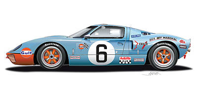 1969 Drawing - Ford Gt 40 1969 by Alain Jamar