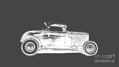 Novel Drawing - Ford Hot Rod Invert White Ink Tee by Edward Fielding