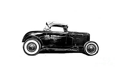 Novel Drawing - Ford Hot Rod Tee by Edward Fielding