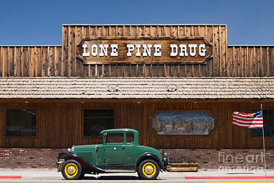 Ford Model A And Drug Store Print by Ei Katsumata