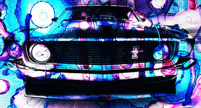 R.i.p Mixed Media - Ford Mustang 1969 by Sir Josef Social Critic - ART