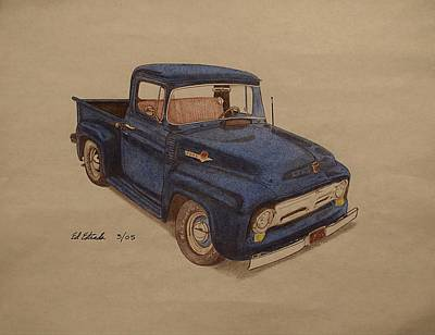 1956 Ford Truck Drawing - Ford Pickup by Ed Estrada