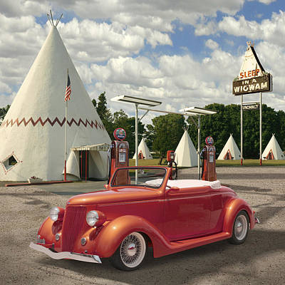 Motel Digital Art - Ford Roadster At An Indian Gas Station 2 by Mike McGlothlen