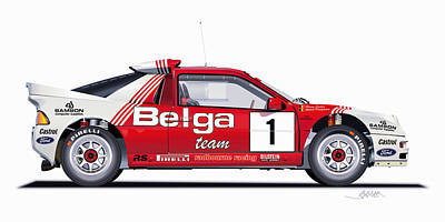 Wheel Drawing - Ford Rs 200 Belga Team Illustration by Alain Jamar