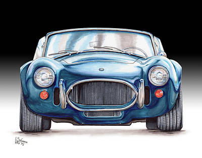 Cobra Drawing - Ford Shelby Ac Cobra by Shannon Watts