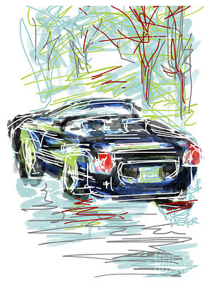 Loose Style Drawing - Ford Thunderbird Convertible by Robert Yaeger