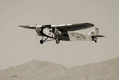 Ford Tri-motor Taking Off - Sepia Tone Print by Allen Sheffield