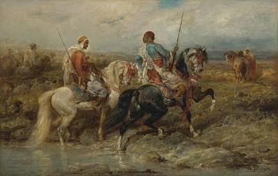 Orientalist Painting - Fording A Stream by Celestial Images