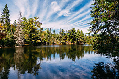 Canada Photograph - Forest And Sky Reflecting In Lake by Thomas Richter