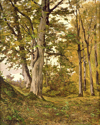 Forest At Fontainebleau Print by Henri-Joseph Harpignies