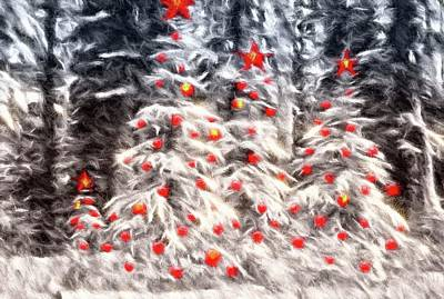 Forest Christmas Print by Kathy Bassett