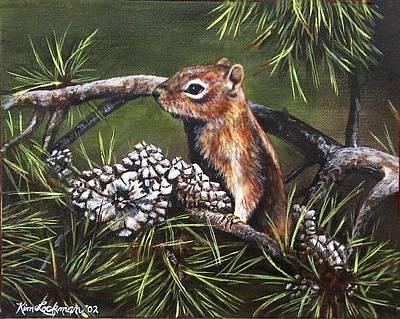 Chipmunk Painting - Forest Friend by Kim Lockman