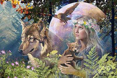 Wolf Digital Art - Forest Friends 2 by Steve Read