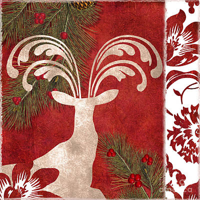Forest Holiday Christmas Deer Print by Mindy Sommers