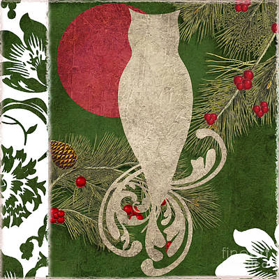 Forest Holiday Christmas Owl Print by Mindy Sommers