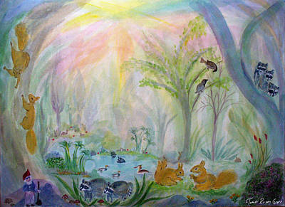 Water Color Painting - Forest Scene With Squirrels by Tomer Rosen Grace