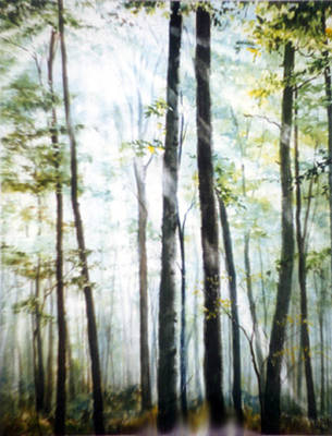 Rays Painting - Forest Sentinels by Hanne Lore Koehler
