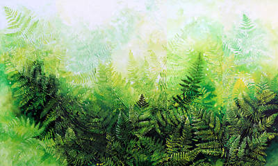 Pentaptych Painting - Forever Ferns by Hanne Lore Koehler