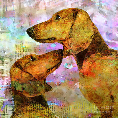 Dachshund Art Mixed Media - Forever Friends by Stacey Chiew
