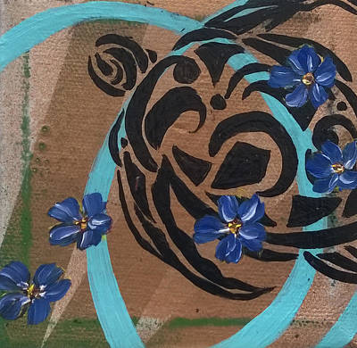 Painting - Forget-me-not Sea Turtle by Andrea LaHue
