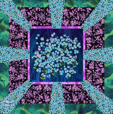 Impressionist Mixed Media - Forget Me Nots Fabric By Clothworks by Teresa Ascone