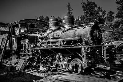 Junk Photograph - Forgotten Train Black And White by Garry Gay